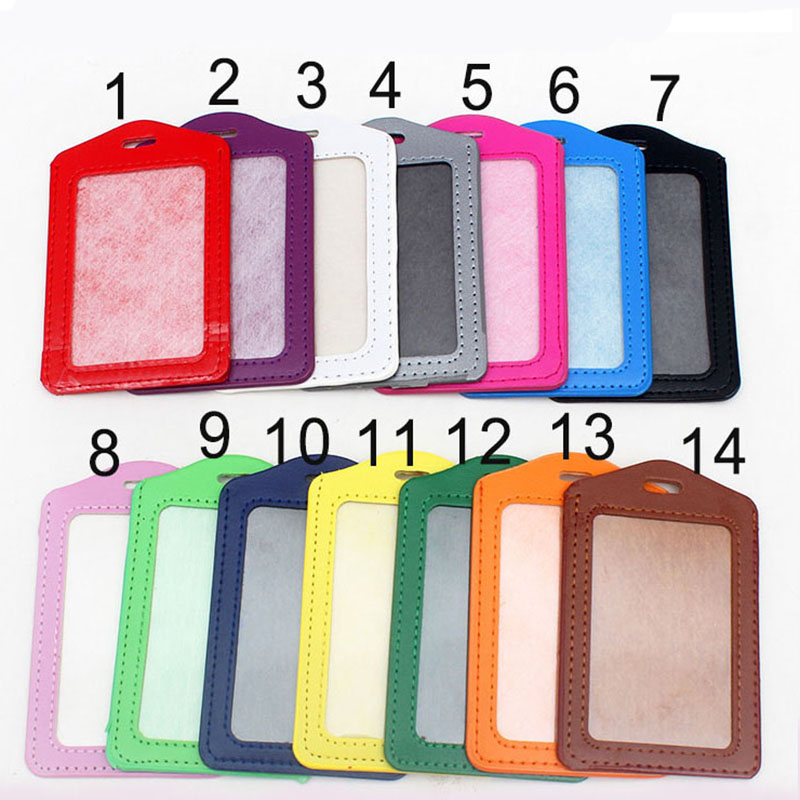 Candy Color Vertical PU Card Holder Badge Holder & Accessories Hospital Nurse School Entrance Guard Card & Chest Card