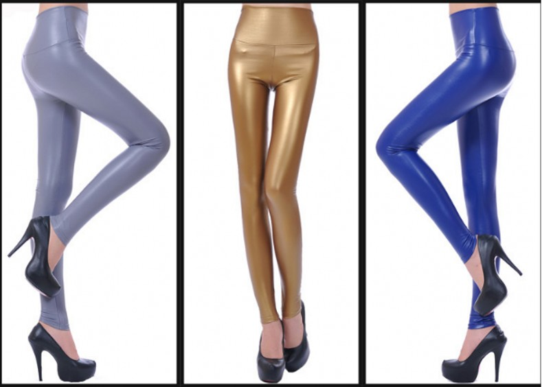 Womens PU Leather Pants High Elastic Waist Leggings Not Crack Slim Leather Leggings Fleece Trousers Women Fashion F80 23