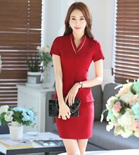 Novelty Red Professional Business Suits With Jackets And Skirt Female Blazers Outfits Office Ladies Work Wear Plus Size 4XL
