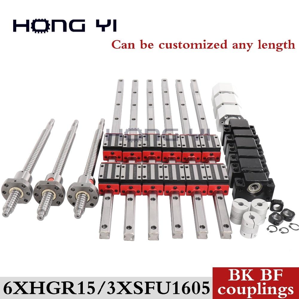 6 sets linear rail HGR15 guía lineal cualquier longitud + lineal teniendo bloques SFU1605 tornillo de bola + 3 BK12 /BF12 + 3 DSG16H tuerca + 3 acoplador