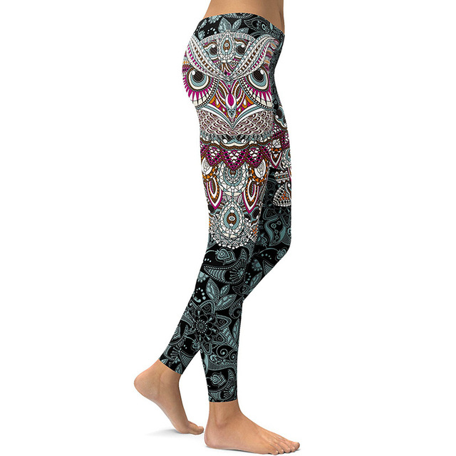 efb1cee2a105f 2017 Skinny Christmas holiday sweatpants 3D printed Owl paisley Mosaic  women's yoga pants Running leggings Gym