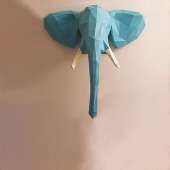 DIY ديكور المنزل الفيل رئيس نموذج ورقة الألغاز لعبة للمطاعم المتاجر والبارات للماء التعليمية طي الورق نموذج