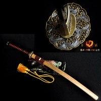 Ручной работы самураев глины Тампере японских самураев T10 Сталь меч катана Полный Тан sharp лезвие