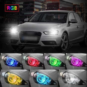 Ford Focus Headlights | LEEWA 4X100mm Car LED RGB Angel Eyes Halo Ring Light Wireless Remote Control For Ford Focus 08+ Bi-Xenon Headlight #CA3347