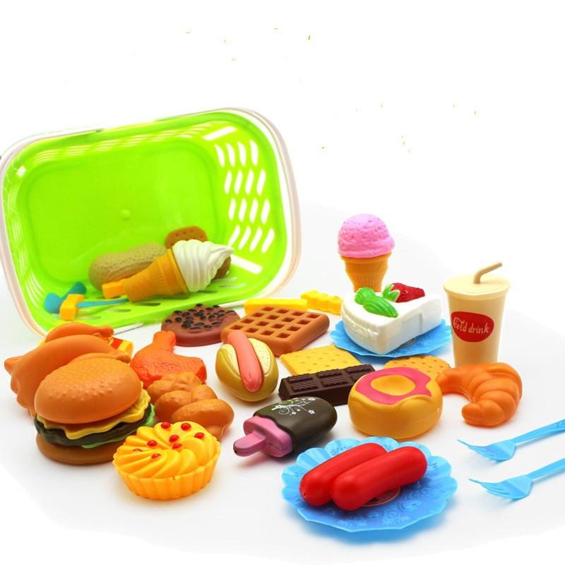 35Pcs Plastic Food Toy Pretend Play Kitchen Set Miniature Drink Bottle Cake Hamburgers Ice Cream Children Educational Girls Toys