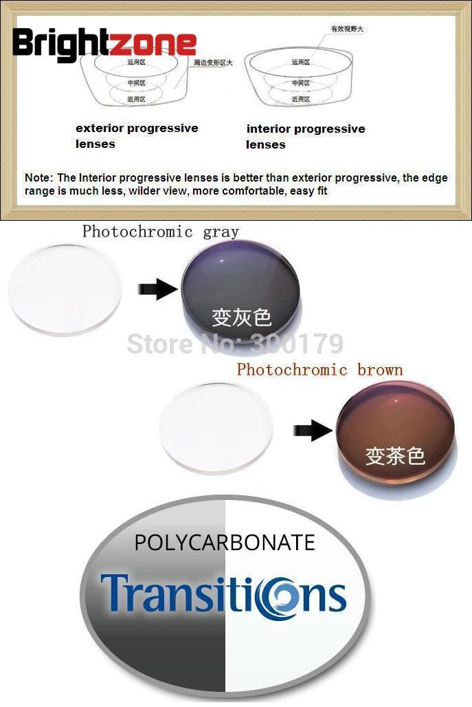 Polycarbonate progressif photochromique sans ligne CR-39 lentilles de prescription [seule vision (sphère), ne pas avoir d'astigmatisme]