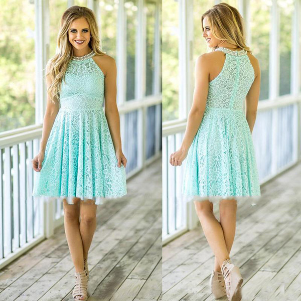 Mint Lace Bridesmaid Dresses 2017 Country Beach Weddings with Pearls Jewel Neck Zipper Back Knee Length Maid of Honor Wedding Party Dress