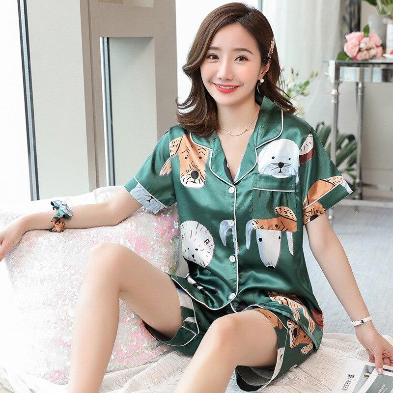 New Plus Size 3XL 4XL Summer Faux Silk Pajamas Sets For Women Short Length Ladies Long Pyjama Set 80 Kg 90 Kg Can Wear Sleepwear