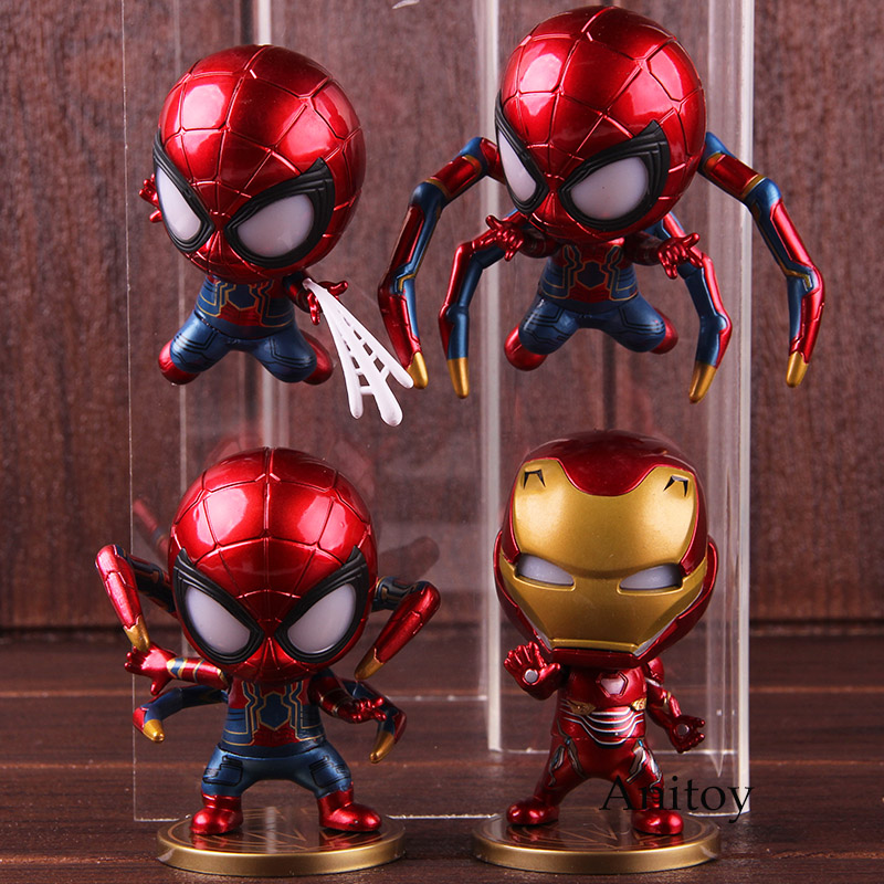font-b-avengers-b-font-infinity-war-iron-man-spiderman-iron-spider-figure-action-bobblehead-doll-with-led-light-kids-toys-boys-gifts-4pcs-set