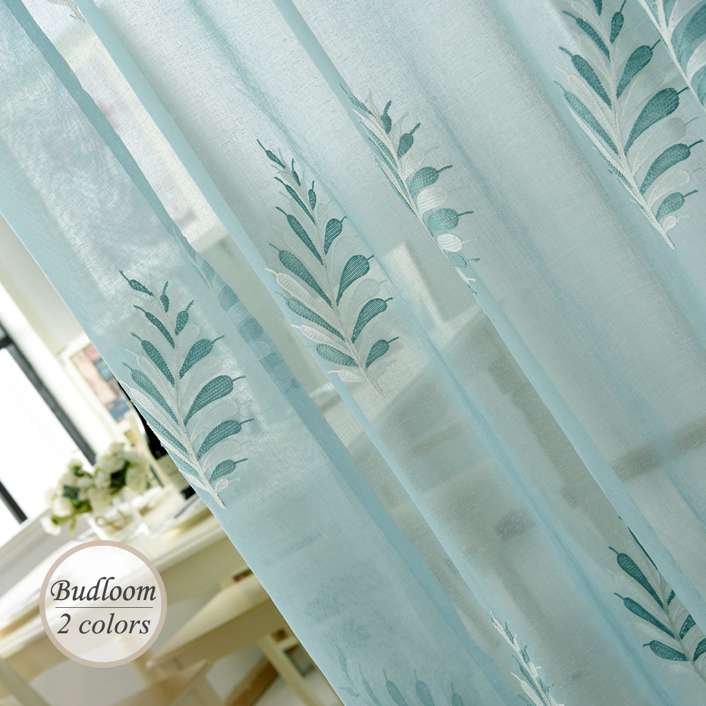 Cafe curtains for bedroom - Modern Embroidered Tulle Curtains For Bedroom 2 Colors White Blue Sheer Curtains Home Window Drapes For Living Room