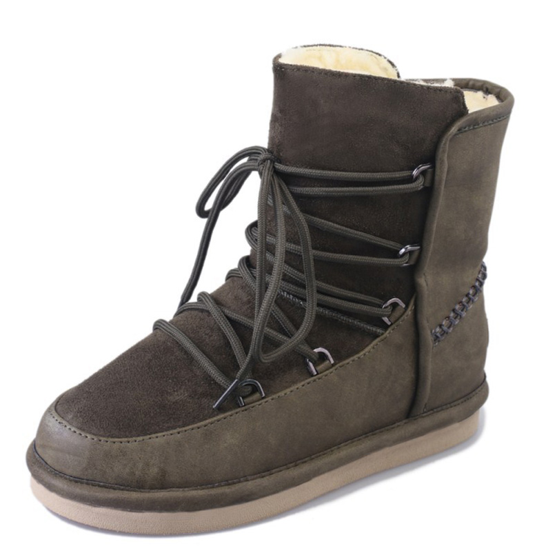 Neige Chaussures En Dames black D'hiver Mode Chaude Laine Bottes Fidanei green Cuir Yellow De Imperméables Véritable Femmes qBgzwP7