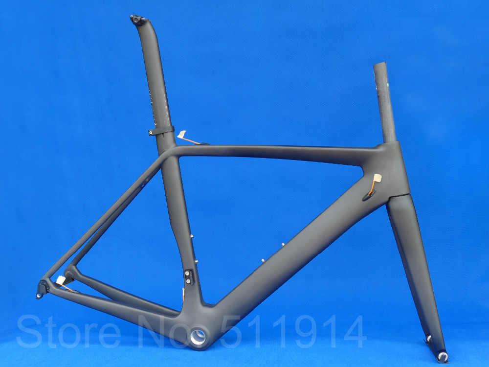 Alta calidad nuevo completo fibra de carbono UD bicicleta de carretera mate 700C marco horquilla tija abrazadera auriculares FR-316