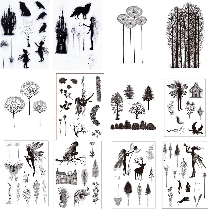 Fairies/trees/castle Forests Transparent Clear Stamp For DIY Scrapbooking/photo Album Card Making Stationary Supply