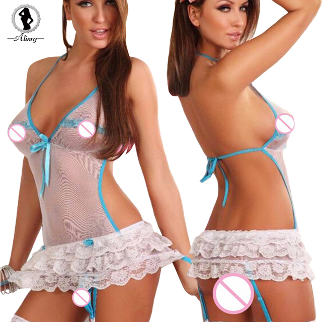 ST084 Perspective babydoll sexy lingerie hot lace erotic lingerei blue bow tie three point sexy costumes lenceria sexy