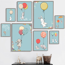 7-Space Modern Cute Watercolor Balloon Rabbits Canvas Painting For Kids Room Nursery Wall Art Print Poster Pictures Decor