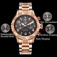 GUOU Fashion Wristwatch Women Date Display Dial Gold Metal Case 20mm Stainless Steel Strap Ladies Quartz