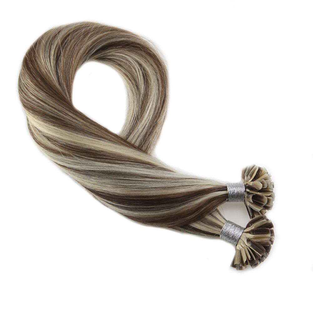 Moresoo U Tip Hair Extensions Real Remy Hair Highlighted Color #9A Brown Mixed With #60 Blonde Nail Tip Hair Extension 1g/s 50G