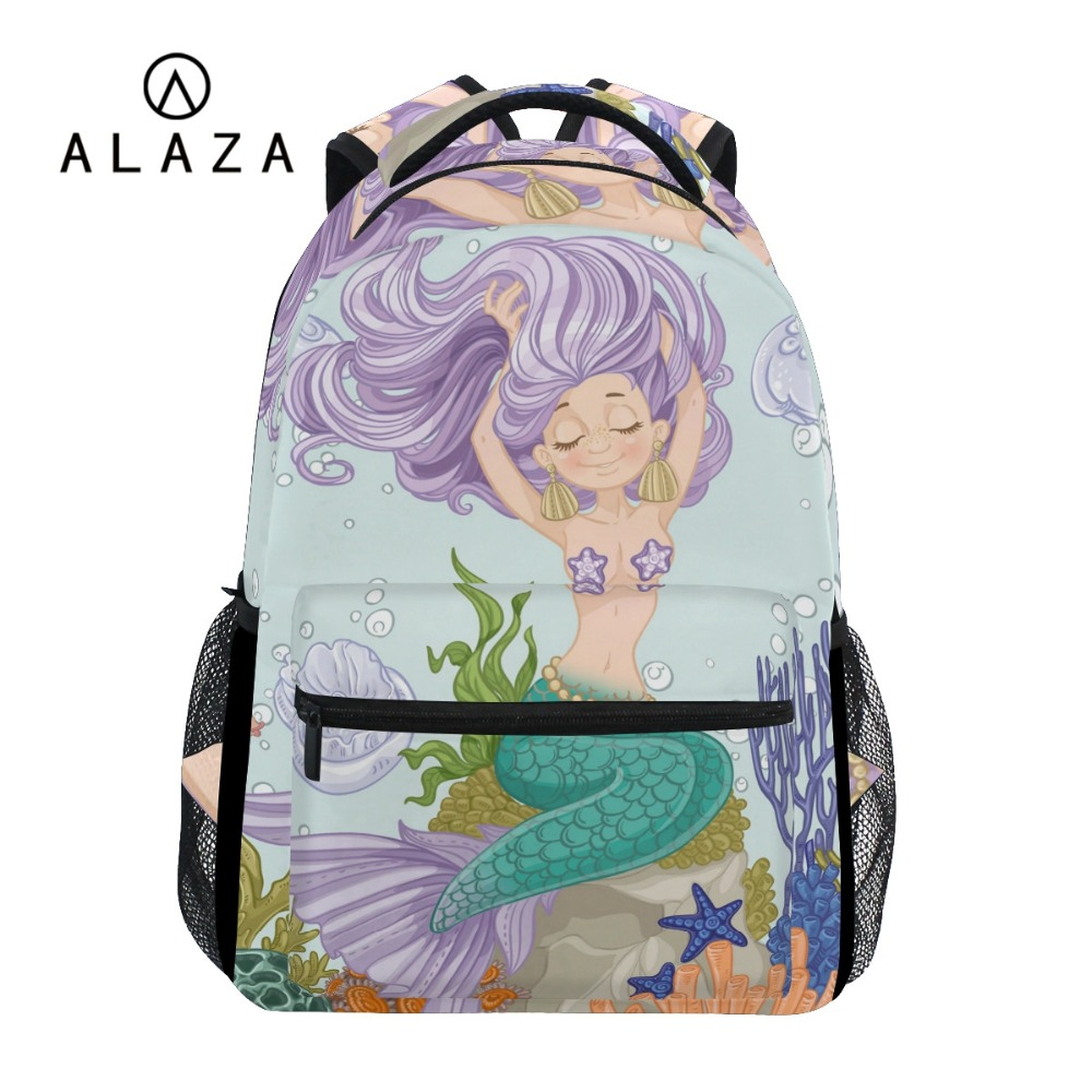 ALAZA New Arrvial Mermaid Printing Backpack Women Girls Big Capacity Fish Tail Travel Bag Student School Bag Laptop Backpack-in Backpacks from Luggage & Bags on AliExpress - 11.11_Double 11_Singles' Day 1