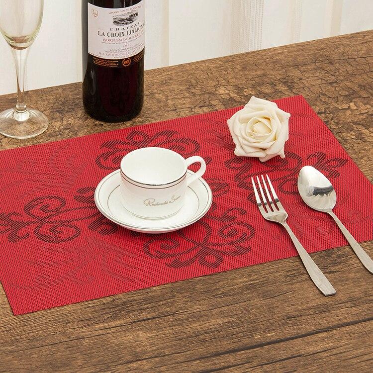 4 Stks / partij Placemat Chinese knoop patroon dineren tablemat remblokjes kom pad onderzetters waterdicht tafelkleed pad antislip pad