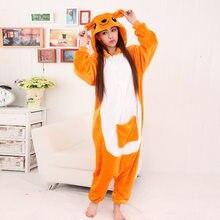 JINUO Новый кигуруми оранжевый кенгуру Onesie для взрослых и детей новые  зимние Фланелевые животных пижамы Мультяшные ползунки ce6f6174b5099