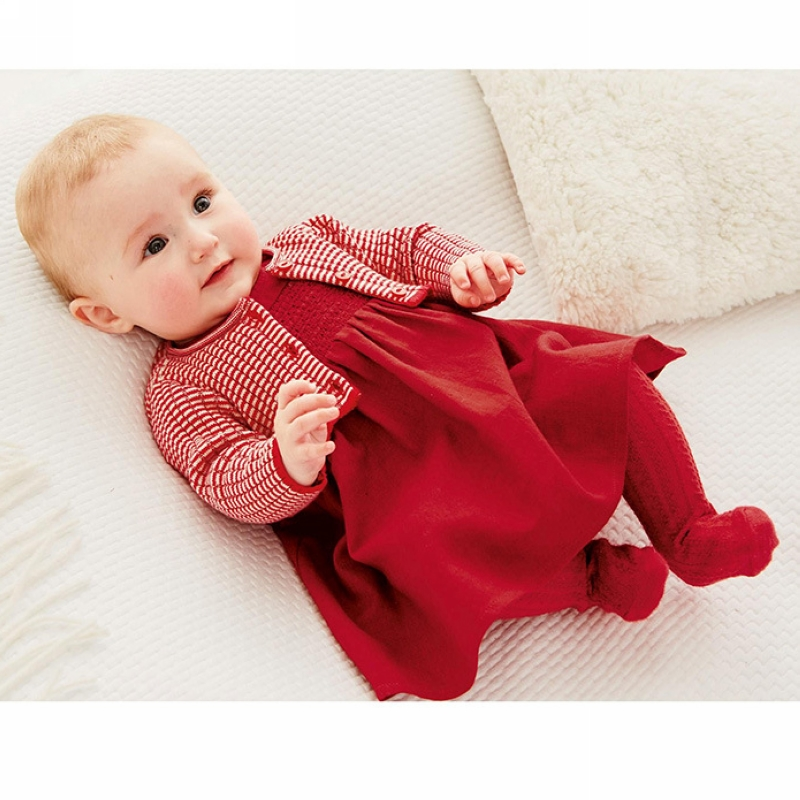 Baby Girl Dress Red Knitted Sweater Cardigan Cotton
