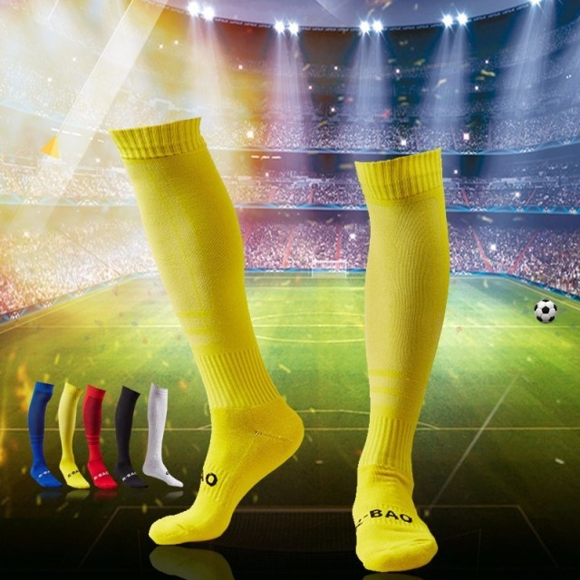 Adults Professional Men Soccer Socks Stocking Sporting Socks Cotton Knee Football Socks Breathable Absorbent Running