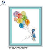 Joy Sunday The little girl with a balloon 2 Counted DIY Hand Cross Stitch 11CT 14CT DMC Printed Cloth for Embroidery Sets