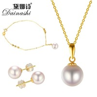 Dainashi 8 9 mm Pearl Sets Natural Akoya Necklace Bracelet Earrings Jewelry Sets For Women Gift Party Fine Jewelry Wedding
