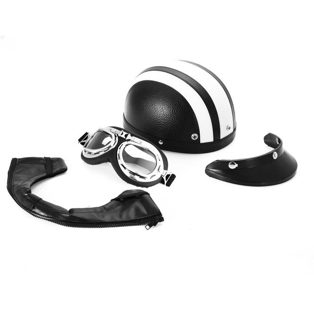white -Hot Sell 2016 Synthetic Leather vintage Motorcycle Motorbike Vespa Open Face Half Motor scooter Helmets & Visor & Goggles