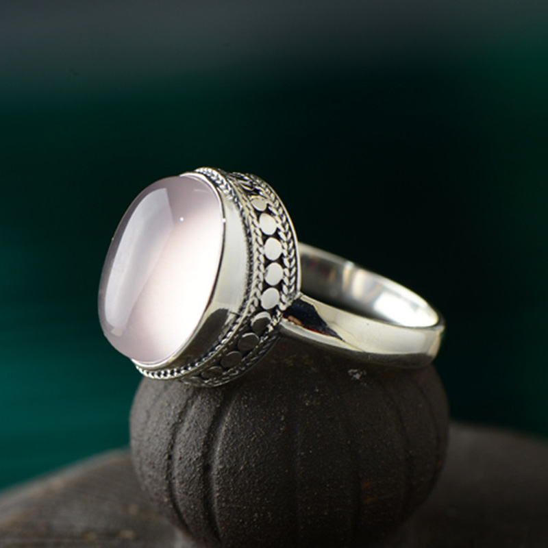 Guaranteed Sterling Silver Ring 925 For Women Initial Women Rings Natural Rose Quartz Stone Fine Jewelry Anillo CompromisoGuaranteed Sterling Silver Ring 925 For Women Initial Women Rings Natural Rose Quartz Stone Fine Jewelry Anillo Compromiso