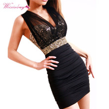 Summer Women Dress Deep V-Neck Sequin Glitter Dress Luxury Sexy Style Stretch Bodycon Dresses Mesh Solid Mini Dress 4colors