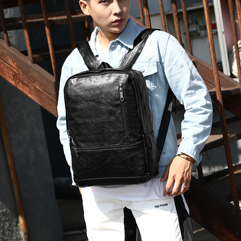 15 6 Laptop Backpack Leather Travel Soft Back Fashion Black Waterproof Backpack For School Teenager Bag bagpack Male Women 2019 in Backpacks from Luggage Bags