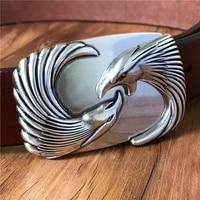 TOP Quality Eagle Head Belt Buckle Super Thick Genuine Leather Luxury Cowboy Belt Jeans Ceinture Homme