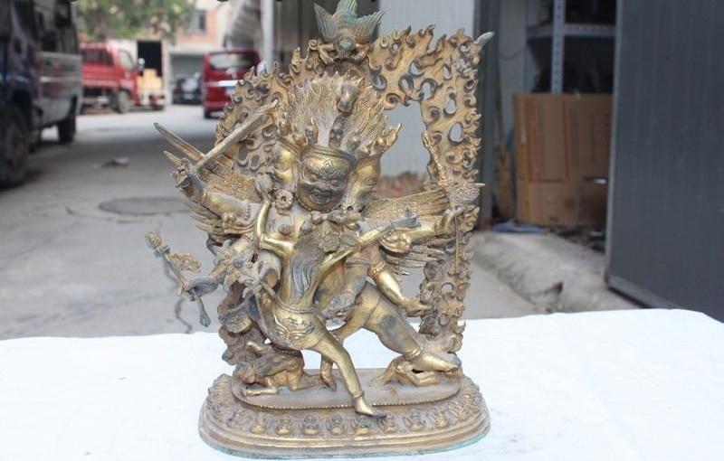 Tibet Temple Bronze Copper Mahakala Hayagriva Yab-Yum Tantric Buddha Statue