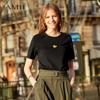 Amii Minimalist Short Sleeve T Shirts Women Spring Autumn 2019 Causal O Neck Embroidery Love Solid Cotton Female Top Tees