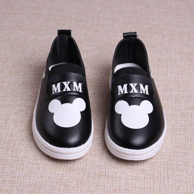 Осенняя мода мальчик девочка обувь дети кожа pu повседневная обувь детский мультфильм микки обувь простой дизайн кроссовок 16J21