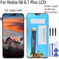 "5.8"" For Nokia X6 6.1 Plus LCD Display Touch Screen Digitizer Assembly Replacement 100% Tested Free Tools For Nokia X6 LCD"