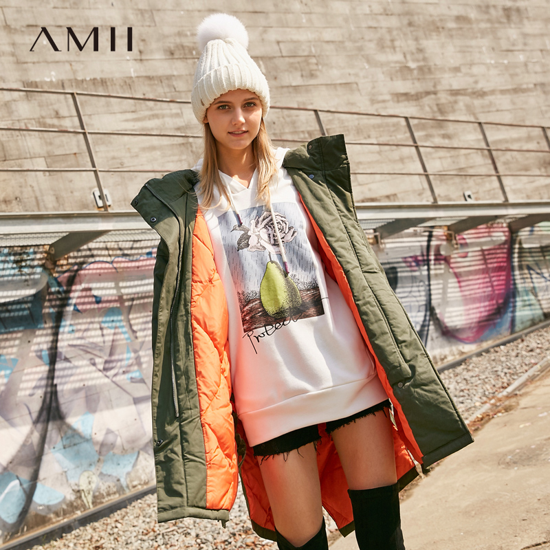 Amii Minimalist 90% White Duck   Down   Jacket Women Witner 2018 Casual Solid Lace Up Thick Female Long Hooded   Down     Coats