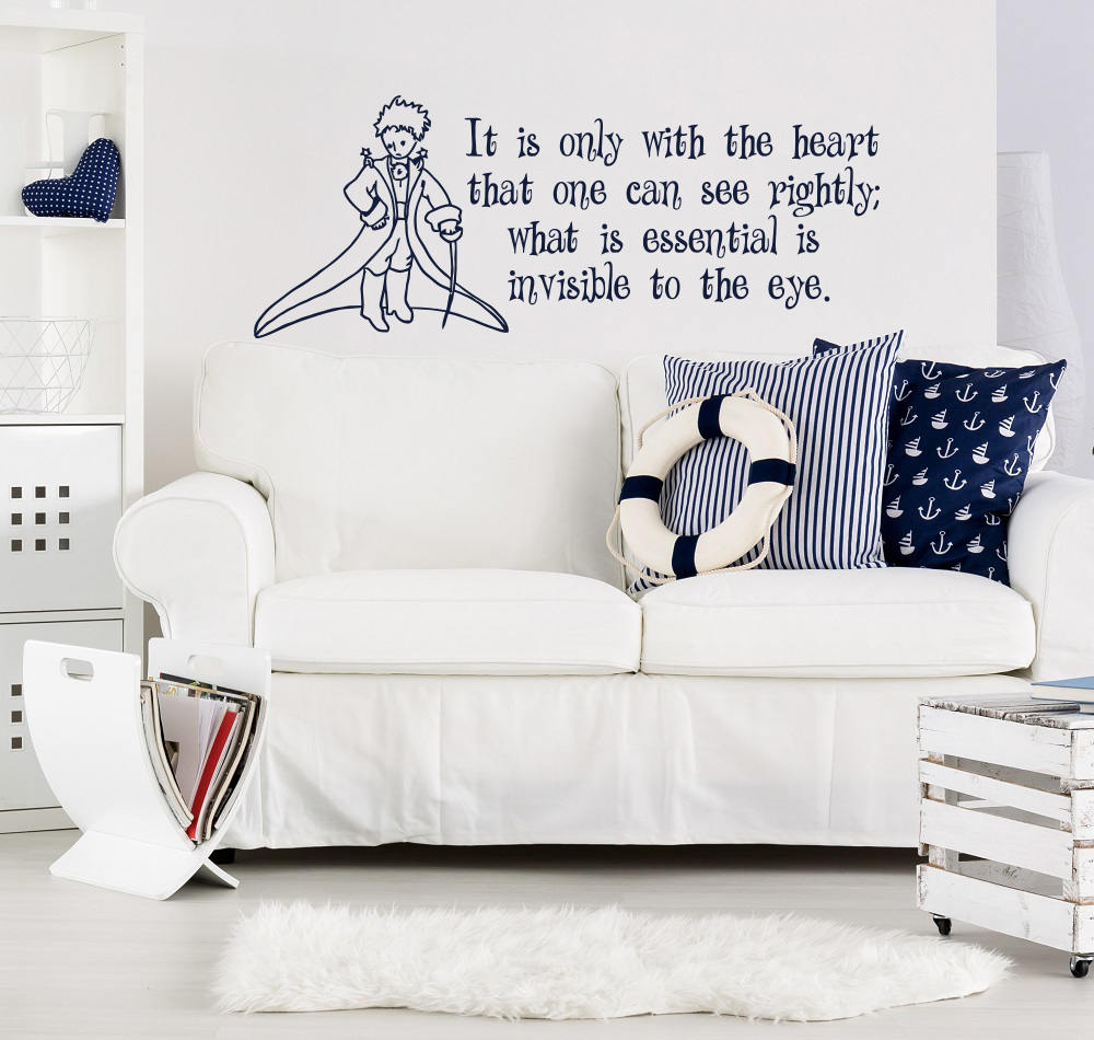 Cartoon Little Prince Nursery Wall Decal It Is Only With The Heart Quote Vinyl Sticker,Nursery Art