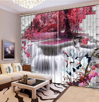 Brick waterfall scenery Curtains for living room 3D Window Curtains For Bedding room Home Decoration