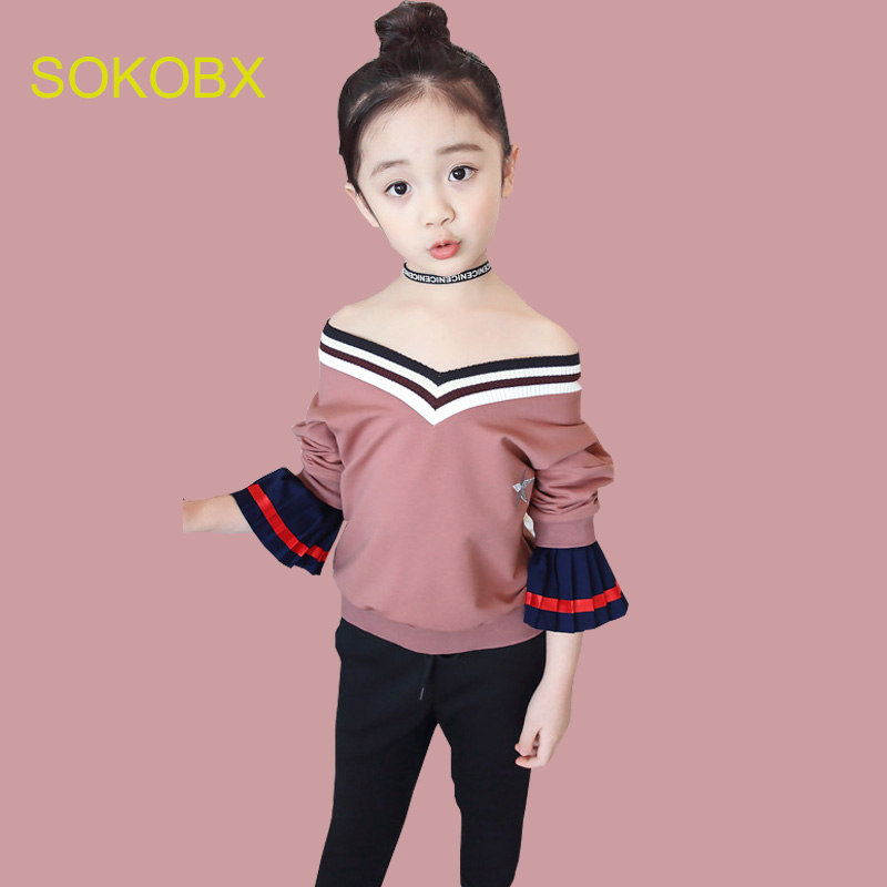 SOKOBX Girls Clothing Sets For Teens Patchwork Tops+pants Children Clothing Spring Autumn Girls Sets Suits Big Teenage Clothes fashion style for girls of chiffon long sleeves tops with stars printed jeans pants in autumn sets children s clothes st316