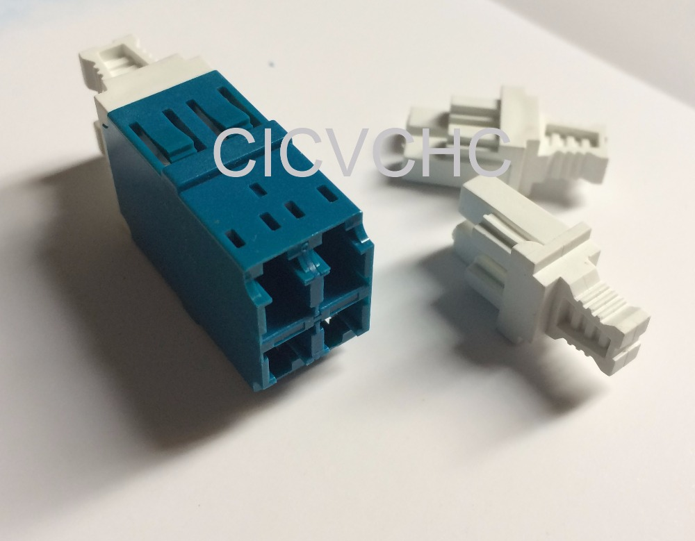 10 stks LC-Quad / Twim-met korte flens-blauw / optische vezeladapter