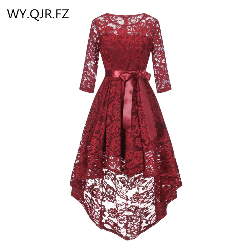 OML530#front Short Long Back Wine Red Bow Middle Sleeve Bridesmaid Dresses Wedding Party Dress Girl Prom Gown Wholesale Clothing