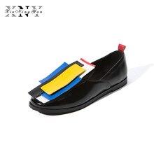 Xiuningyan/осень Для женщин Обувь шнурованная для женщин Обувь с перфорацией типа «броги» Лакированная кожа Slip-On квадратный носок Туфли без каблуков Повседневное смешанный цвет Обувь Для женщин Большие размеры 43