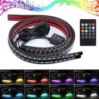 Proster 4x Music Remote Control RGB LED Strip 8 Color Waterproof IP65 Flexible Under Car Tube System Light Kit DC 12V