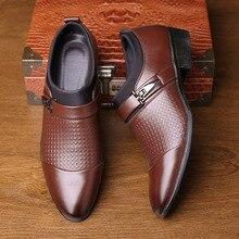 Mazefeng/Новинка; брендовая мужская деловая обувь; Туфли-оксфорды из лакированной кожи с острым носком без застежки; Мужские модельные туфли; деловые туфли; большие размеры 38-46