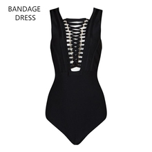 2017 BANDAGE New Metal Cross Strings Front Lace Up Design Bandage Bodysuit Hollow Out Bodycon Sexy Bodysuit HL J135