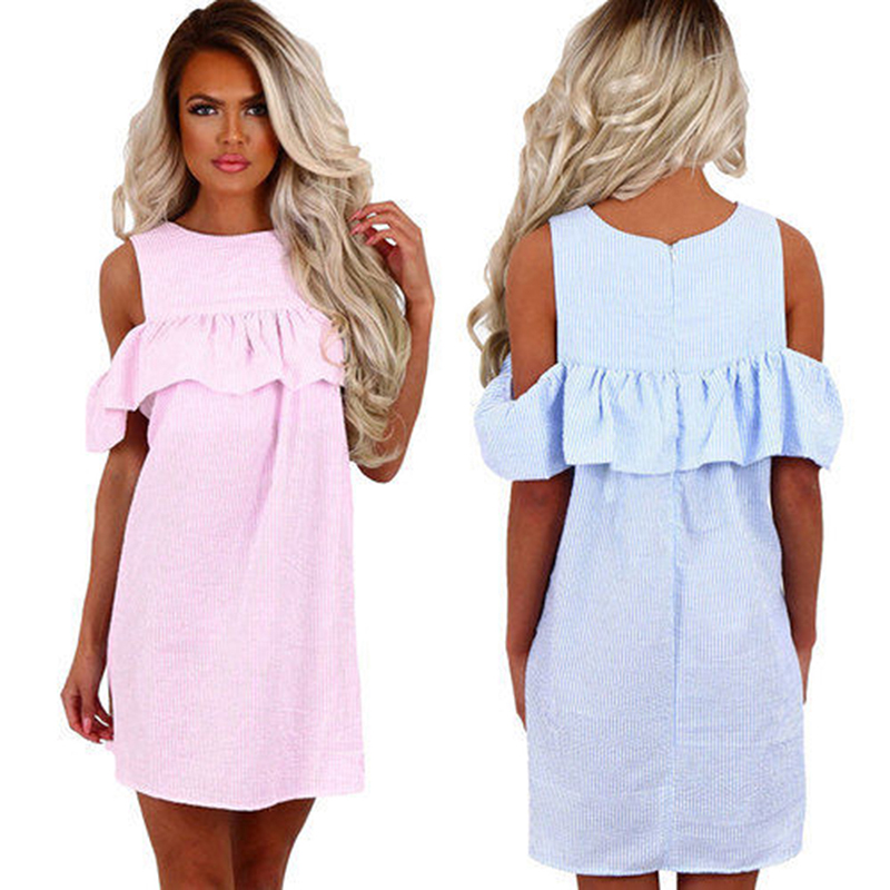 <font><b>Women</b></font> Summer <font><b>Dress</b></font> <font><b>Sexy</b></font> Off Shoulder Loose Casual <font><b>Dress</b></font> O Neck Zipper Ruffles <font><b>Dress</b></font> Ladies Female Candy Color <font><b>Blue</b></font> <font><b>Pink</b></font> AY816289 image