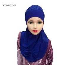 LJ7 стиль хиджаб для детей складывается 2 шт. детей hijabs модный мусульманский хиджаб дети пашмины