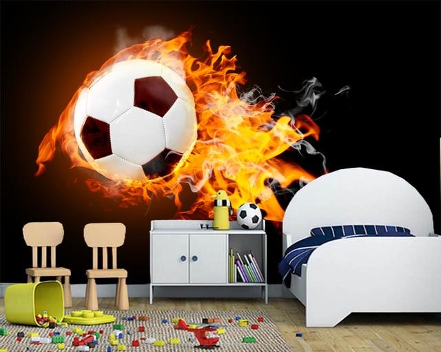 Behang Kinderkamer Voetbal : Custom voetbal behang vlam voetbal fresco voor kinderkamer bar